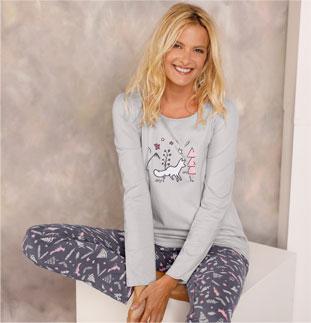 Grijs pyjamashirt voor dames met vossenprint en lange mouwen in katoenjersey, goedkoop - Blancheporte