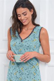 Chemise de nuit bleue fluide imprimée fleuri en coton pas cher - Blancheporte