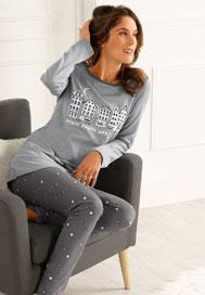 Grijs pyjama-ensemble voor dames met 'stad en sterren' print in katoen, goedkoop - Blancheporte