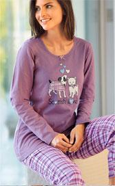 Paars pyjama-ensemble voor dames met hondenmotief in tricot en flanel, goedkoop - Blancheporte