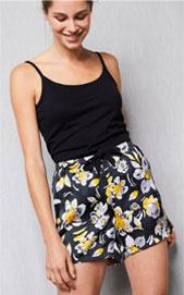 Zwarte pyjamashort voor dames in satijn met bloemenprint, goedkoop - Blancheporte