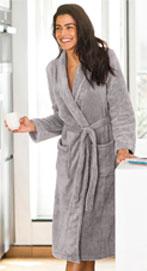 Grijze lange peignoir voor dames in fleece met pluchetouch, goedkoop - Blancheporte