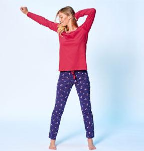 Tee-shirt pyjama  rouge uni manches longues en coton pas cher - Blancheporte