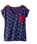 Marineblauw bedrukt pyjamashirt voor dames met korte mouwen in katoen, goedkoop - Blancheporte