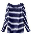 Tee-shirt pyjama rayé bleu et blanc manches longues en coton pas cher - Blancheporte