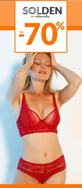 Rode kanten beugelbeha in foulardmodel Oeko-Tex Confidence Lingerie®, goedkoop - Blancheporte