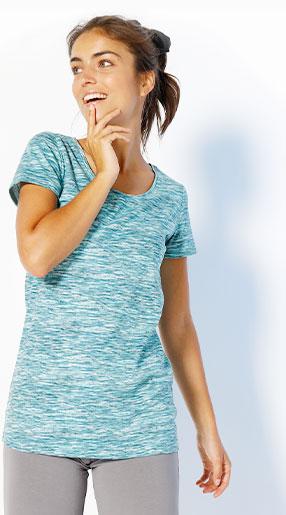 Tee-shirt femme bleu chiné en coton manches courtes col rond pas cher - Blancheporte