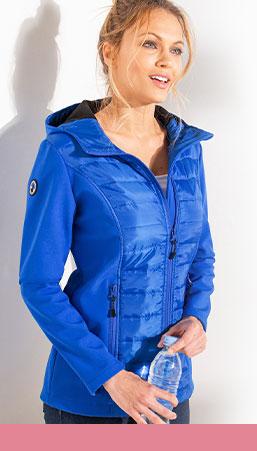 Veste femme softshell bleue déperlante micro-polaire manches longues pas cher - Blancheporte