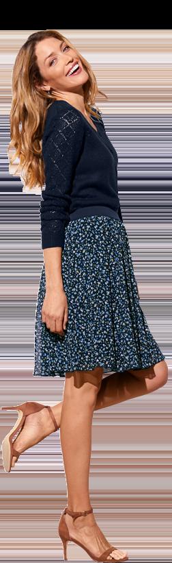 Jupe bleue courte évasée imprimé minimaliste taille élastique pas cher - Blancheporte
