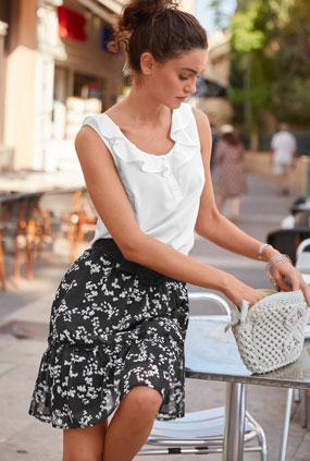 Witte mouwloze bloes met strook en ronde hals, goedkoop - Blancheporte
