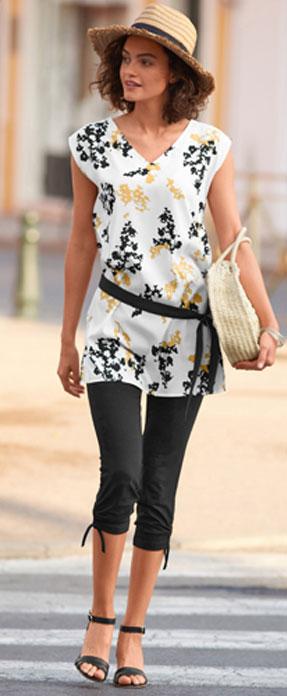 Zwart en wit bedrukte, wijde tuniek zonder mouwen met ceintuur en V-hals, goedkoop - Blancheporte