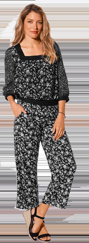 Zwart en wit bedrukte bloes met vierkante hals en 3/4-mouwen, goedkoop - Blancheporte