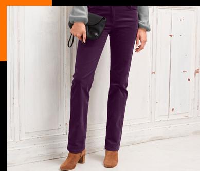 Pantalon femme velours violet taille haute pas cher - Blancheporte