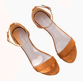 Bruine sandalen met sleehak en enkelriempje in suèdine, goedkoop - Blancheporte