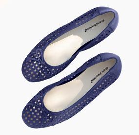 Blauwe ballerina's met sleehak in ajourleer, goedkoop - Blancheporte