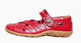 Rode comfortabele schoenen met riempje in ultrasoepel leer, goedkoop - Blancheporte
