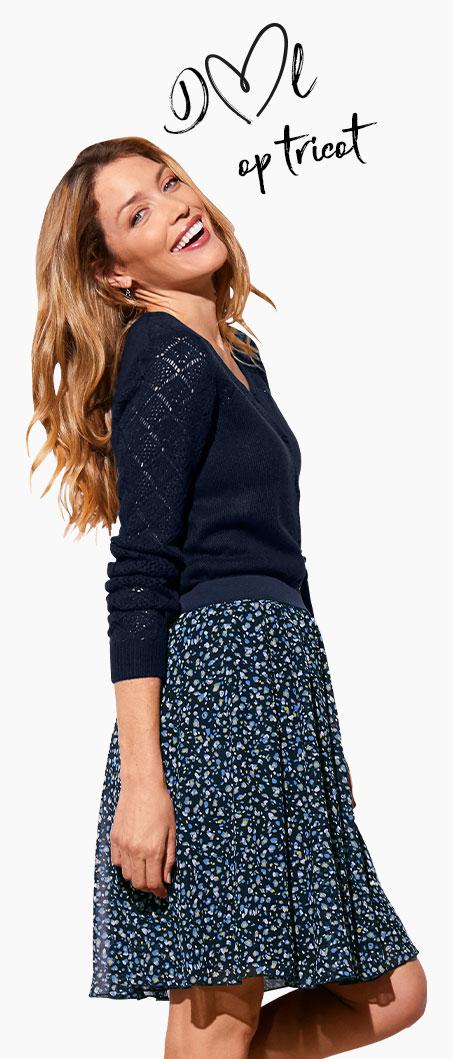 Marineblauwe damescardigan in ajourtricot met ronde hals en lange mouwen, goedkoop - Blancheporte
