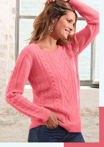 Roze damestrui met kabels, kasjmiertouch en lange mouwen, goedkoop - Blancheporte