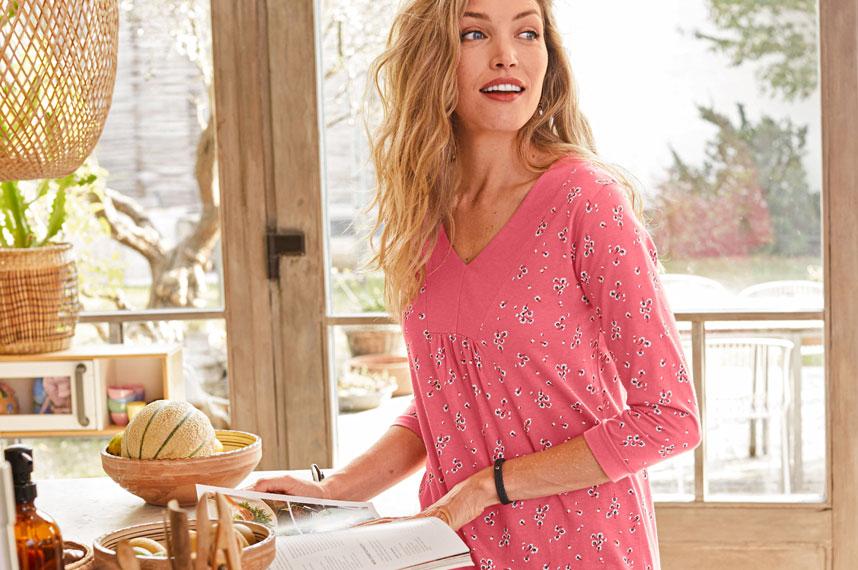 Roze tuniek met bloemenprint en 3/4-mouwen in katoen Colors & Co®, goedkoop - Blancheporte