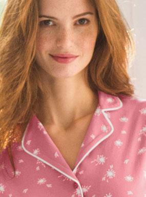 Roze bedrukte pyjama in katoen met reverskraag en lange mouwen, goedkoop - Blancheporte