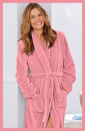 Lange roze peignoir in fleece met lange mouwen, goedkoop - Blancheporte