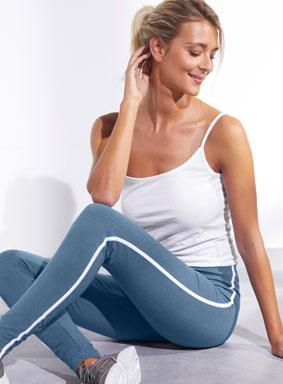 Blauw-wit gestreepte legging met elastische taille in katoen, goedkoop - Blancheporte