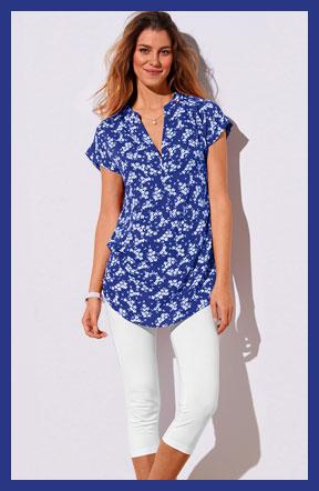 Blauwe tuniek met bloemenprint en korte mouwen Colors & Co®, goedkoop - Blancheporte