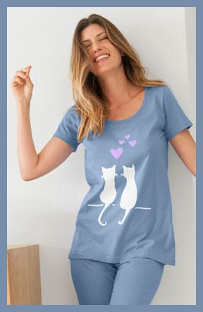 Blauw pyjamashirt en 3/4-pyjamabroek met kattenprint en elastische taille in katoen, goedkoop - Blancheporte