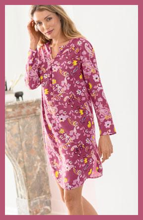 Roze nachthemd in liketstijl met bloemenprint, lange mouwen en V-hals, goedkoop - Blancheporte