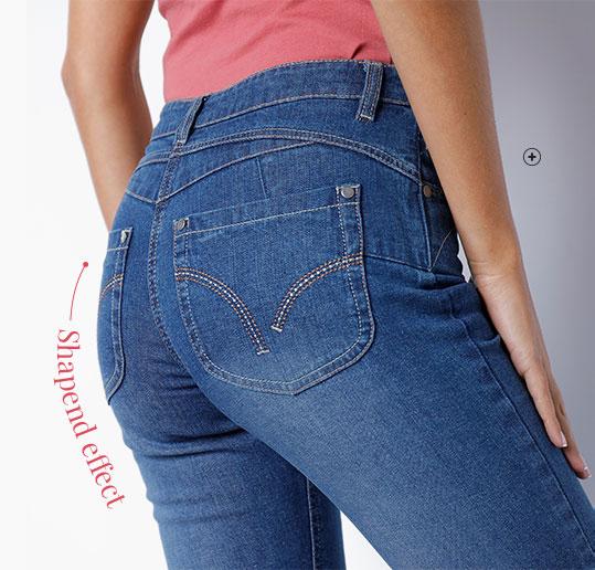 Blauwe damesjeans in recht push-up model Oeko-Tex®, ecologisch verantwoord en goedkoop - Blancheporte