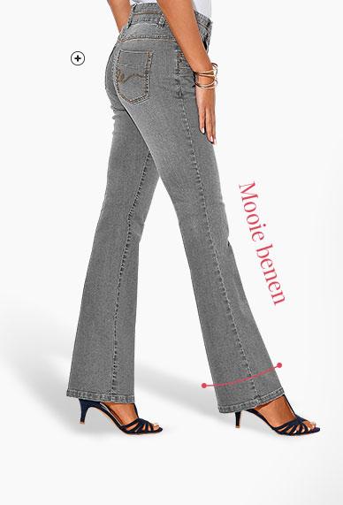 Grijs afgewassen damesjeans in stretch bootcut model Colors & Co®, goedkoop - Blancheporte