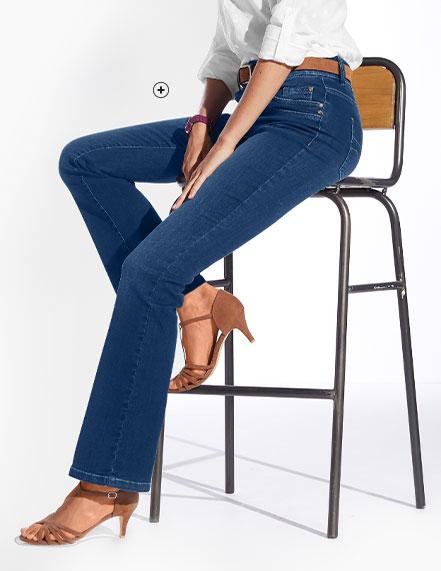 Blauw afgewassen damesjeans in stretch bootcut model Colors & Co®, goedkoop - Blancheporte