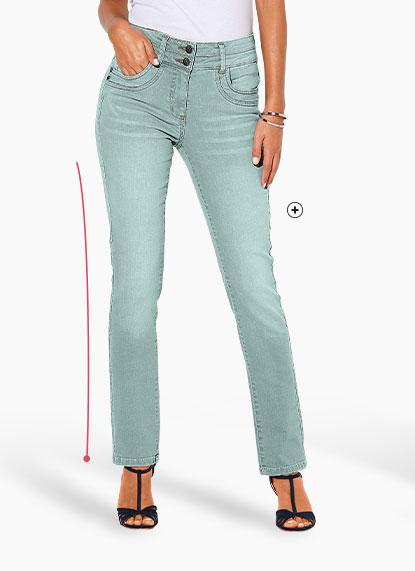 Lichtblauw afgewassen damesjeans in recht stretch model Colors & Co®, goedkoop - Blancheporte