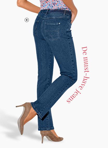 Blauwe damesjeans in recht stretch model voor gemiddelde lengte Colors & Co®, goedkoop - Blancheporte