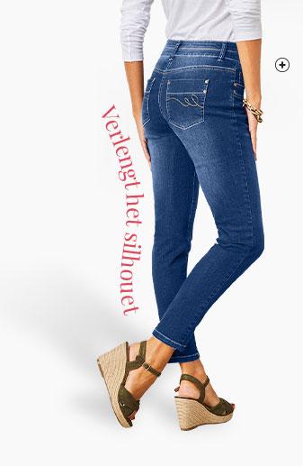 Blauwe damesjeans in smal 7/8-model met stretch Colors & Co®, goedkoop - Blancheporte