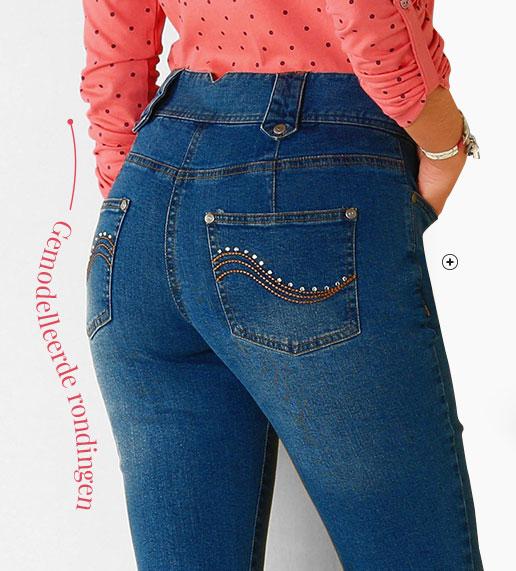 Blauwe rechte damesjeans met hoge taille voor grote lengte, goedkoop - Blancheporte