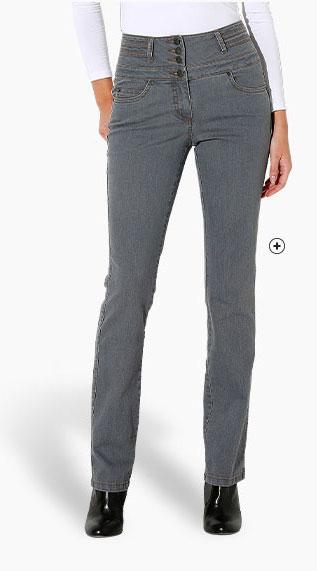 Grijze rechte damesjeans met hoge taille, goedkoop - Blancheporte