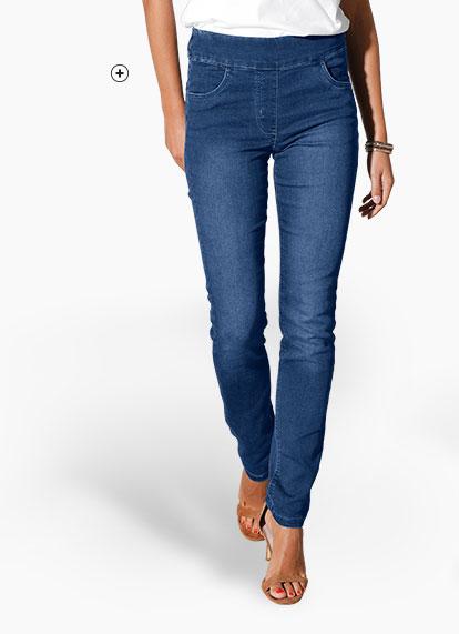 Blauwe damesjegging in smal ultracomfortabel model Colors & Co®, goedkoop - Blancheporte