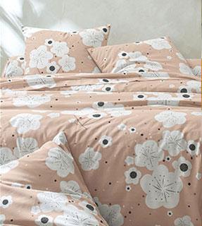 Parure linge de lit beige imprimé fleurs polycoton Oeko-Tex® Colombine® pas cher - Blancheporte