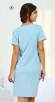 Roze pyjamashirt met print, ronde hals en korte mouwen in biokatoen Oeko-Tex®, eco-verantwoord en goedkoop - Blancheporte