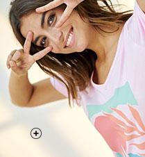 Roze nachthemd met print, V-hals en korte mouwen in biokatoen Oeko-Tex®, eco-verantwoord en goedkoop - Blancheporte