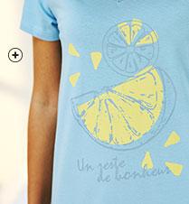 Kort blauw nachthemd met print, V-hals en korte mouwen in biokatoen Oeko-Tex®, eco-verantwoord en goedkoop - Blancheporte