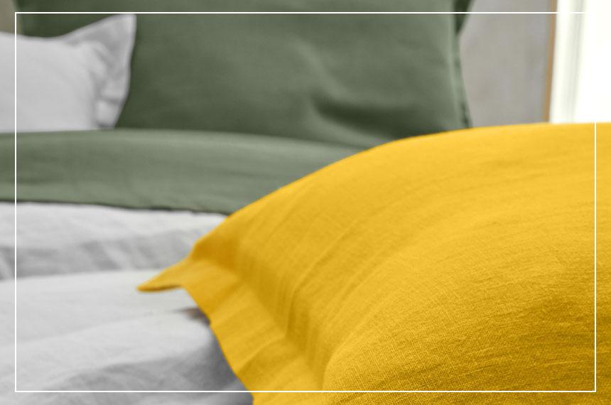 Effen bedlinnenset in gewassen linnen Oeko-Tex® Colombine®, goedkoop - Blancheporte