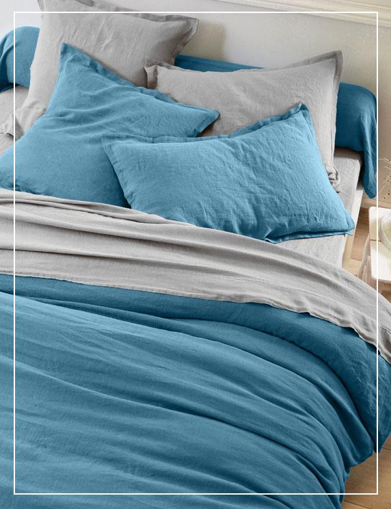 Parure linge de lit unie bleu et gris lin lavé  Oeko-Tex® Colombine® pas cher - Blancheporte
