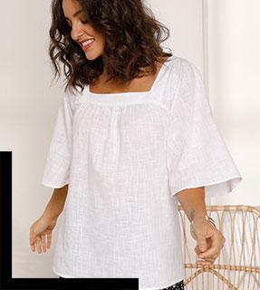 Effen witte, wijde bloes met vierkante hals en ellebooglange mouwen in katoen - goedkoop - Blancheporte
