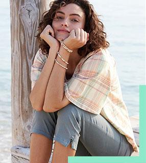 Blouse verte ample col carré à carreaux manche courtes en coton - pas cher - Blancheporte