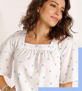 Blouse blanche ample col carré imprimé pois bleu manches courtes en coton - pas cher - Blancheporte