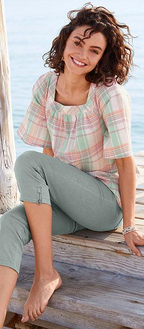 Wijde, groene bloes met vierkante hals, ruitenmotief en korte mouwen in katoen - goedkoop - Blancheporte