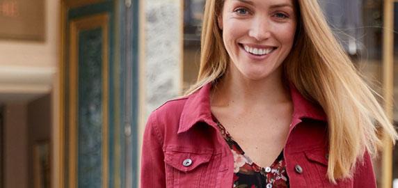 Rood jeansjasje met knoopsluiting en fantasieplooien - lange mouwen - goedkoop - Blancheporte