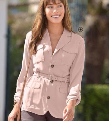 Roze jasje in safaristijl met reverskraag en ceintuur COLORS & CO® - goedkoop - Blancheporte